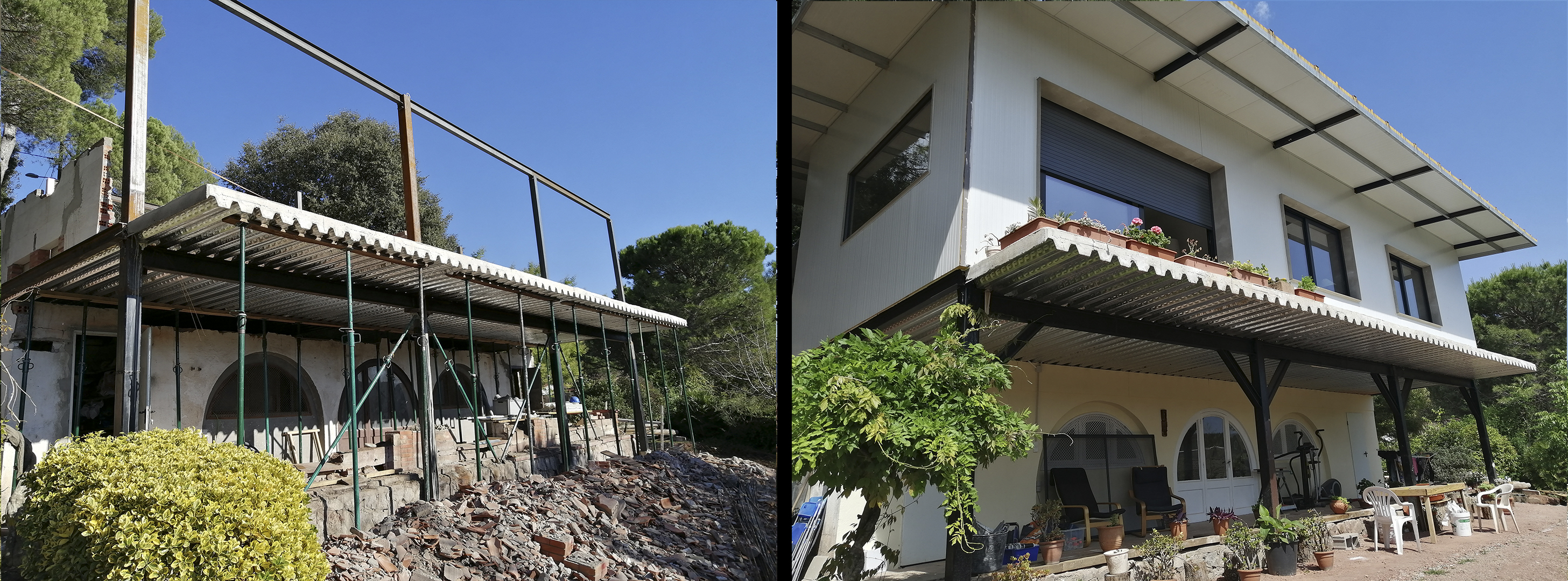 antes y despues estructura paneles